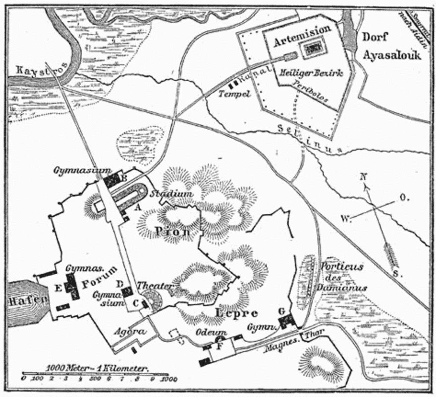 Karte des antiken Ephesus