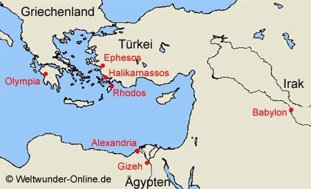 Karte der sieben Weltwunder der Antike